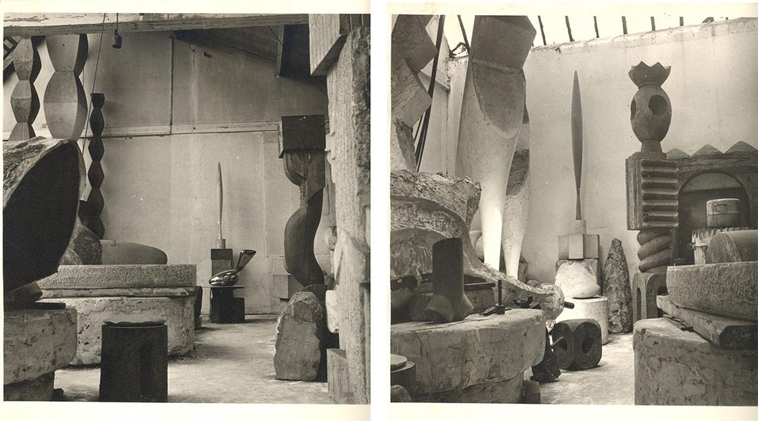 Left: Brancusi, vue d'atelier, 1955; Right: Atelier Brancusi, 11 Impasse Ronsin 15e, 1955. Images© Succession Brancusi - All rights reserved ADAGP, Paris/Artist Rights Society (ARS), New York.Photos courtesy of Paul Kasmin Gallery.