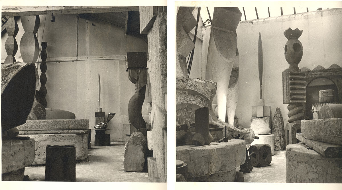 Left: Brancusi, vue d'atelier, 1955; Right: Atelier Brancusi, 11 Impasse Ronsin 15e, 1955. Images © Succession Brancusi - All rights reserved ADAGP, Paris/Artist Rights Society (ARS), New York. Photos courtesy of Paul Kasmin Gallery.