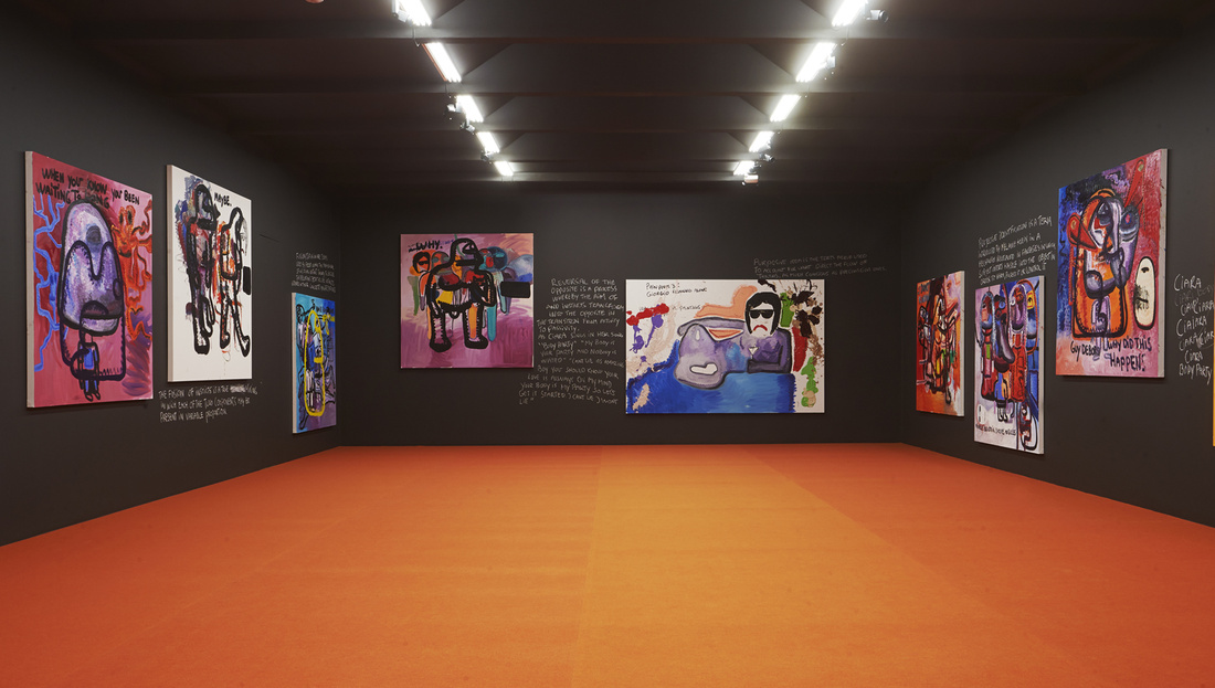 "Installation view of ""Bjarne Melgaard: Right Here, Right Now"" at Lars Bohman Gallery, Stockholm. Courtesy of Lars Bohman Gallery."