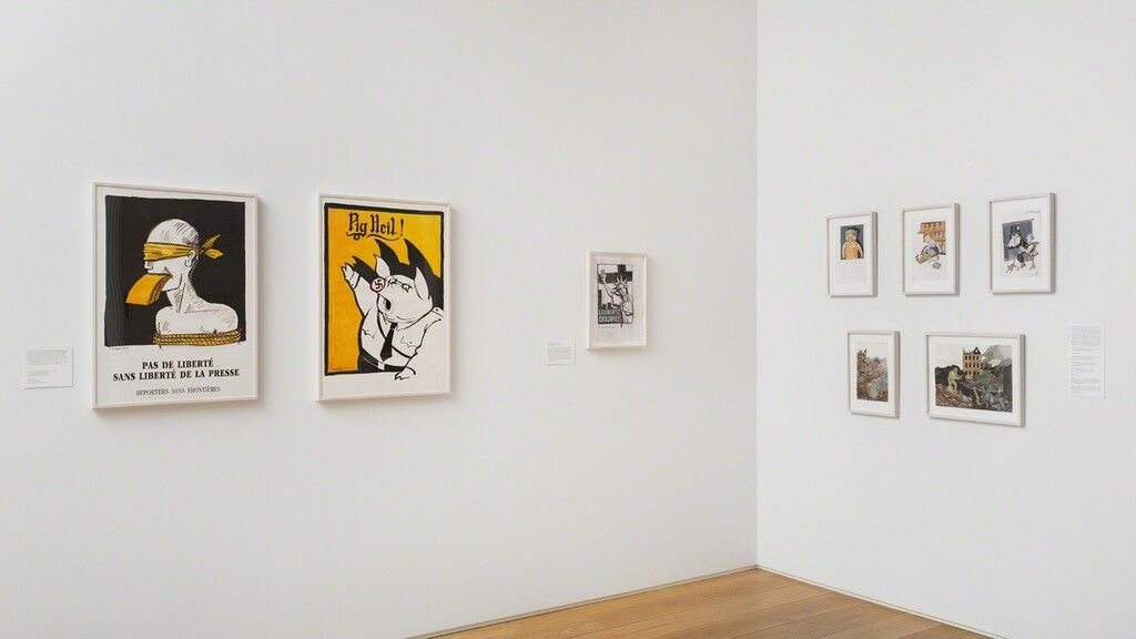 "Installation view of ""Tomi Ungerer: All in One,"" courtesy of the Drawing Center, photo by Jose Andres Ramirez"
