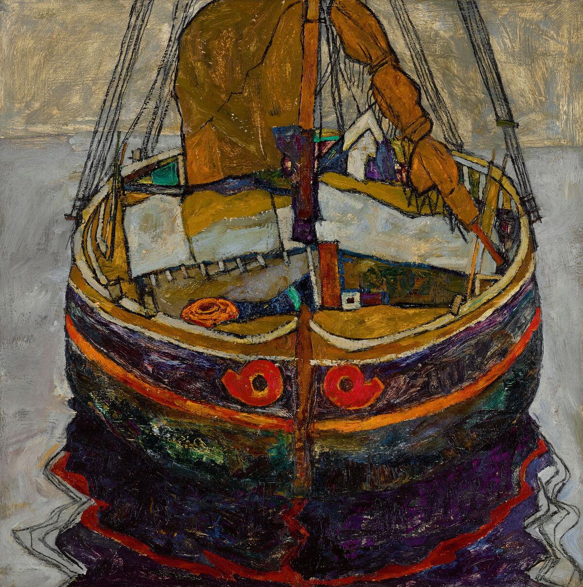Egon Schiele, Triestiner Fischerboot (Trieste Fishing Boat), 1912. Courtesy of Sotheby's.