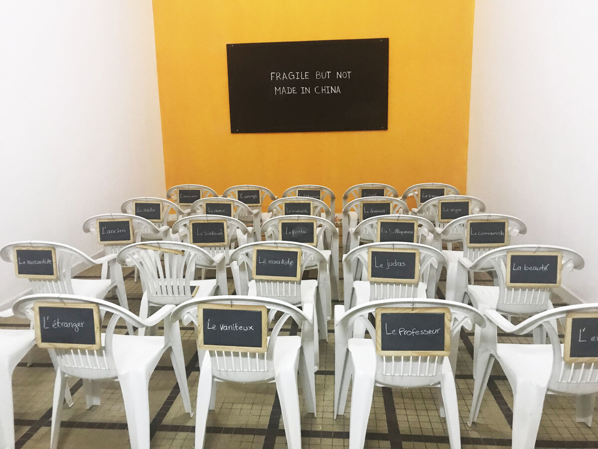 Installation view of Guy Woueté, Democratic Classroom, 2016, at Dak'Art: African Contemporary Art Biennale, Dakar, 2018.