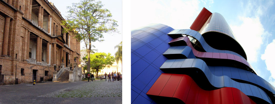 Left: Exterior view of Pinacoteca, São Paulo, by Bianca Cardoso via Flickr. Right: Exterior view of Instituto Tomie Ohtake, São Paulo, by Ricardo Motti via Flickr.
