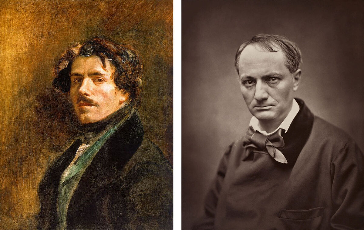 Left: Eugene Delacroix, Self-portrait (circa 1837). Collection of Musée du Louvre, via Wikimedia Commons; Right: Portrait of Charles Baudelaire by Étienne Carjat (1862). Collection of the British Library, via Wikimedia Commons.
