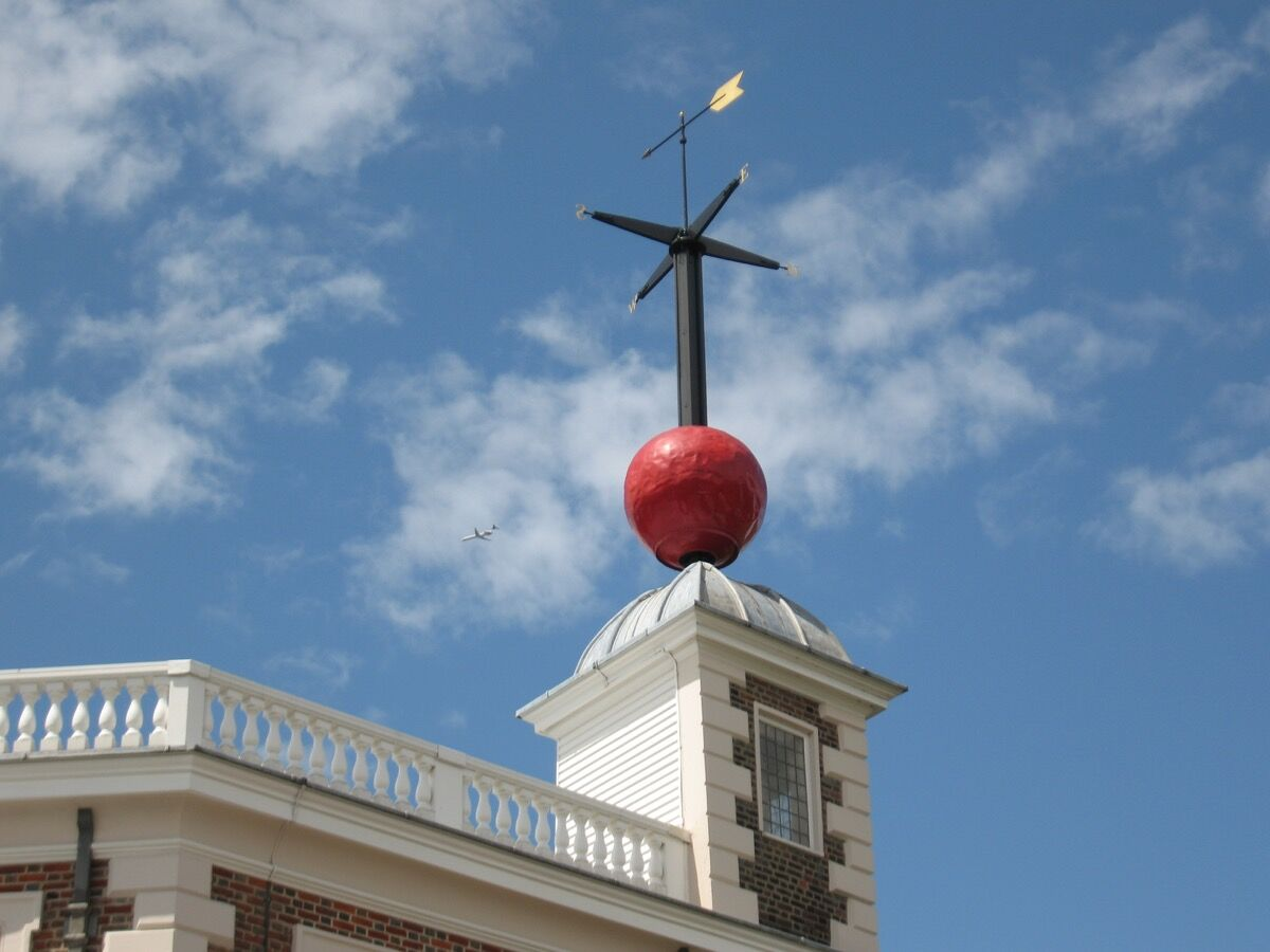 Time ball, post-descent at the Royal Observatory in Greenwich, England. Photo by Kris Arnold, via Flickr.