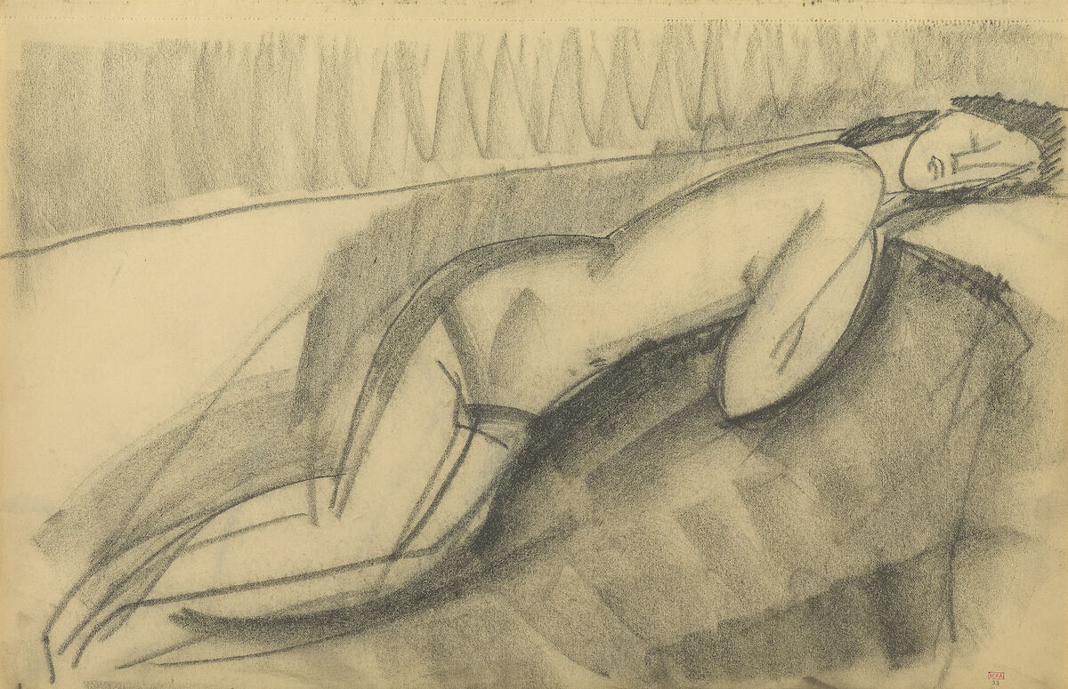 Amedeo Modigliani, Female Nude Lying on Her Left Side, c. 1909. Paul Alexandre Family, courtesy of Richard Nathanson, London. Image provided by Richard Nathanson, photographed by Prudence Cuming Associates, London. Courtesy of the Jewish Museum.