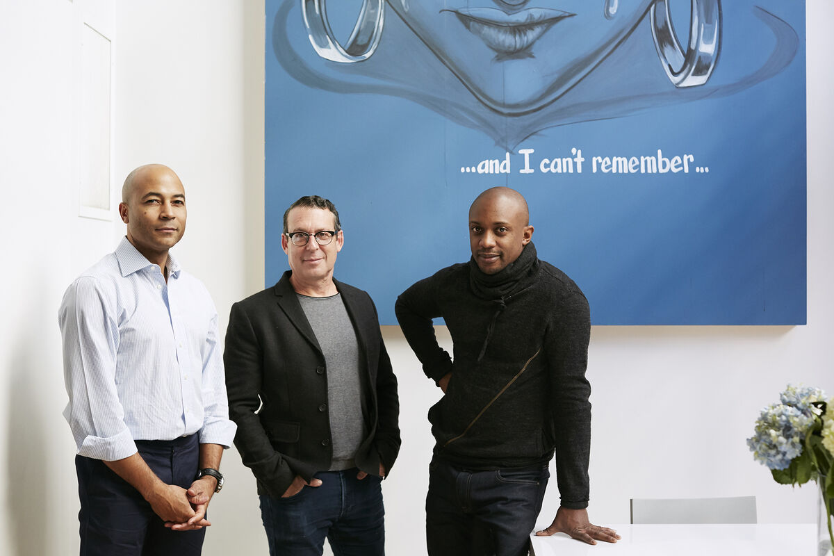 Portrait of Corey Baylor, Jack Shainman, and Hank Willis Thomas by Emily Johnston for Artsy.