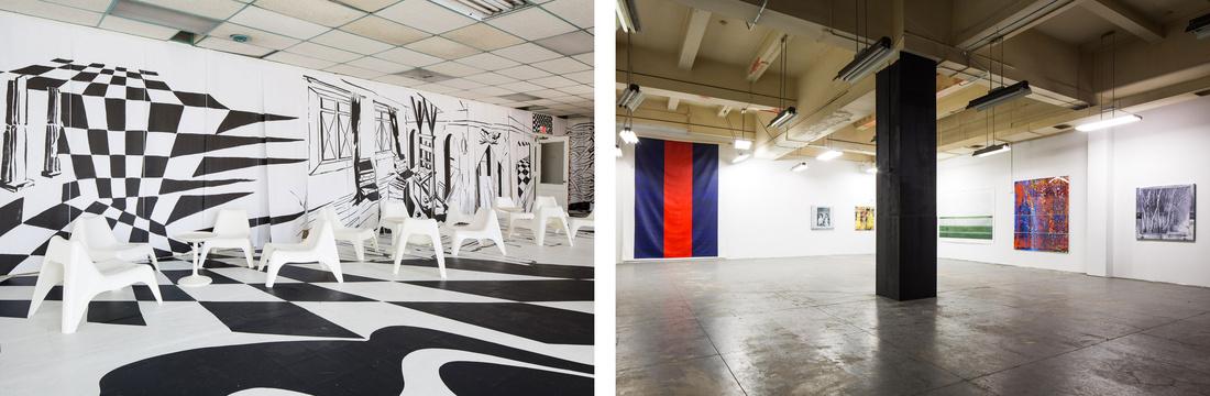 Left: Installation view of works by Jessica Mensch in the SPRING/BREAK lounge; Right: Installation view ofMagda Sawon's Chop Shop exhibition of Greg Allen's work. Photos courtesy ofSamuel Sachs Morgan and SPRING/BREAK Art Show.