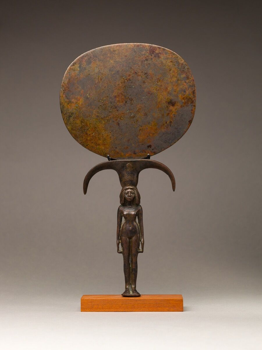 Mirror with a Handle in the Shape of a Young Woman, ca. 1550–1391 B.C.E. Courtesy of the Metropolitan Museum of Art.