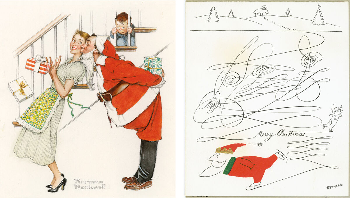 Left: Courtesy of the Hallmark Archives and Norman Rockwell; Right: Courtesy of the Hallmark Archives and Saul Steinberg.