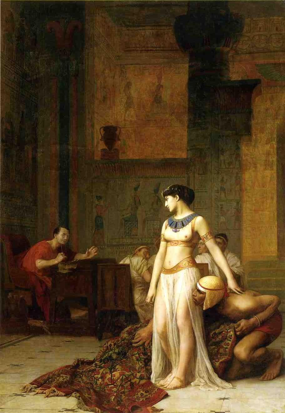 Jean-Leon-Gerome, Cleopatra and Caesar, 1866. Via Wikimedia Commons.