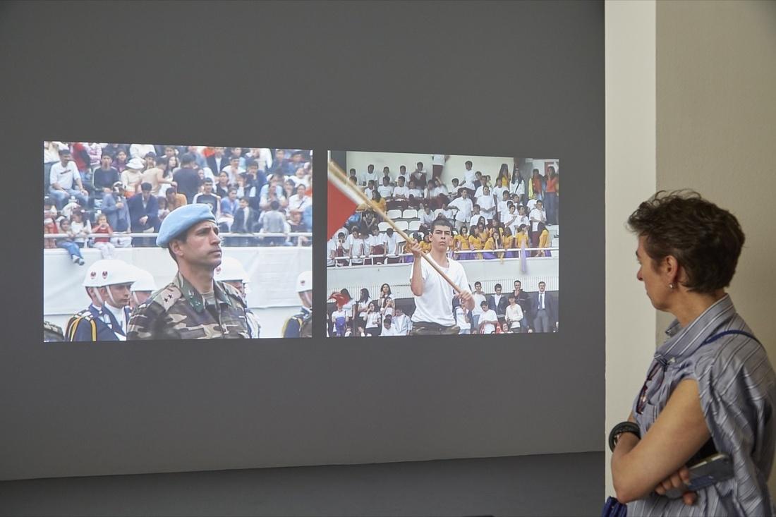 Köken Ergun, I, Soldier, 2005, on view at documenta 14, 2017. Photo by Benjamin Westoby for Artsy.