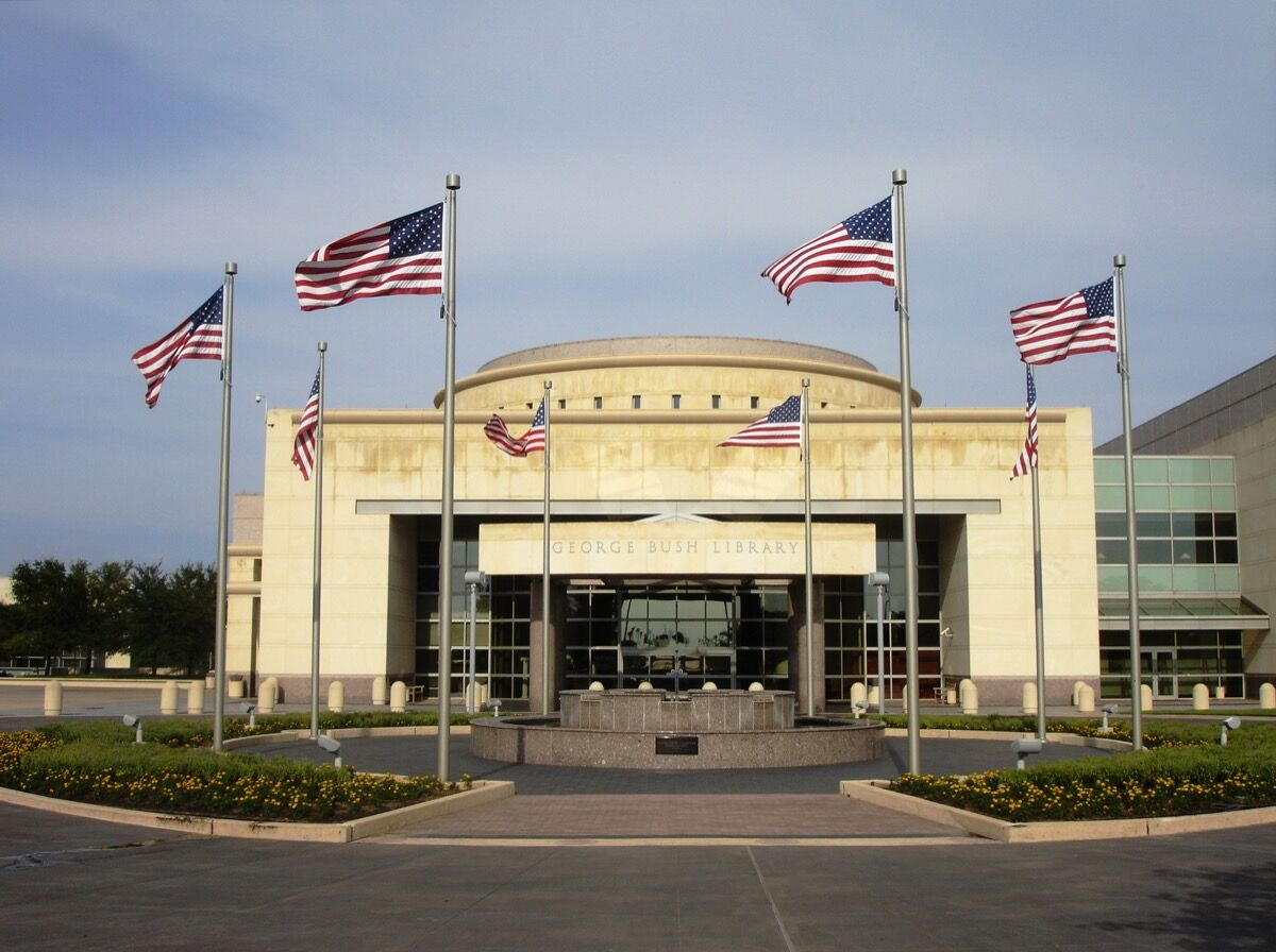 George Bush Presidential Library on Texas A&M University campus, via Wikimedia Commons.