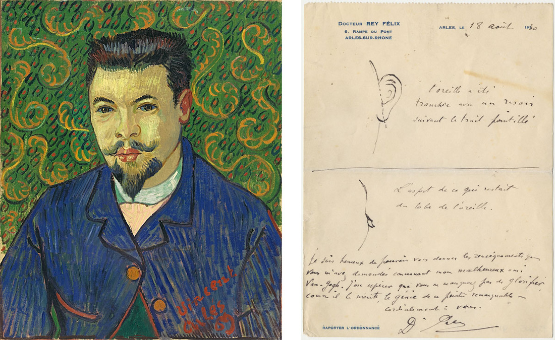 Left:Vincent van Gogh, Portrait of Dr Félix Rey, oil on canvas, January 1889. The State Pushkin Museum of Fine Arts, Moscow; Right:Letter from Félix Rey to Irving Stone with drawings of Vincent van Gogh's mutilated ear, 18 August 1930. The Bancroft Library, University of California, Berkeley. Images courtesy of the Van Gogh Museum Amsterdam.