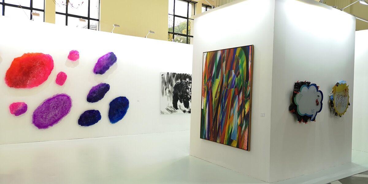 Installation view of Galerie nächst St. Stephan Rosemarie Schwarzwälder's booth at Art021, 2018. Courtesy of Galerie nächst St. Stephan Rosemarie Schwarzwälder.