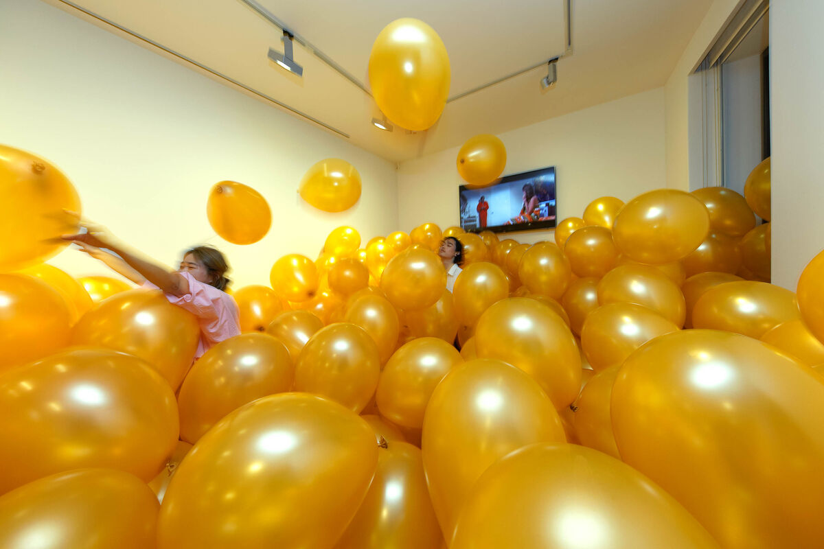"""Installation view of Martin Creed, Work No. 1190: Half the air in a given space, 2011, for """"The Party"""" at Anton Kern Gallery, 2018. Courtesy of Anton Kern Gallery."""
