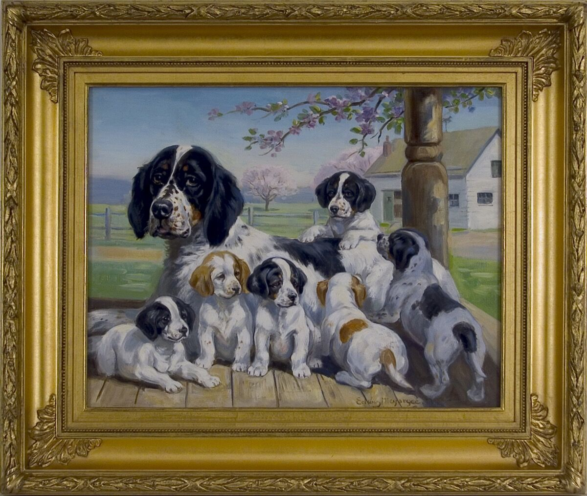 Edwin Megargee, Bess and Her Puppies. Courtesy of William Secord Gallery.