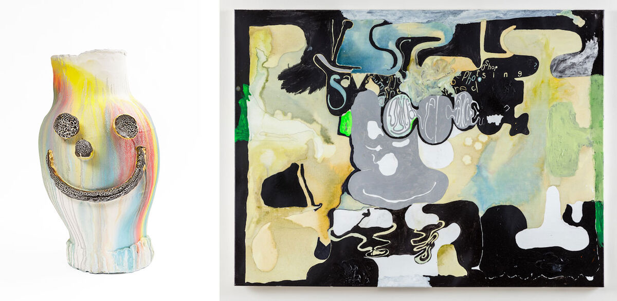 Left: Dan McCarthy, All Saints, 2016. © Dan McCarthy /Photo: Kent Pell. Courtesy of the artist, Anton Kern Gallery, New York and rodolphe janssen, Brussels; Right: Work by Michael Williams. Image courtesy of Gladstone Gallery.