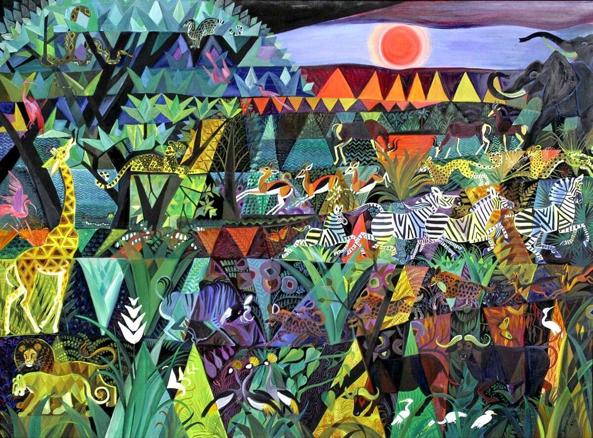 Dahlov Ipcar, Harlequin Jungle (pre-macular), 1972. © Estate of Dahlov Ipcar. Courtesy of Rachel Walls Fine Art.