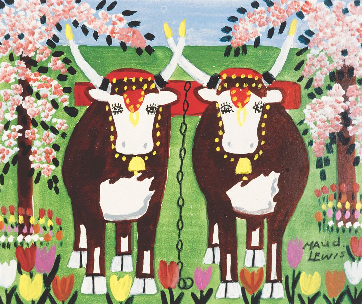 Maud Lewis, Oxen in Spring, ca. 1960s. Courtesy of the Art Gallery of Nova Scotia.