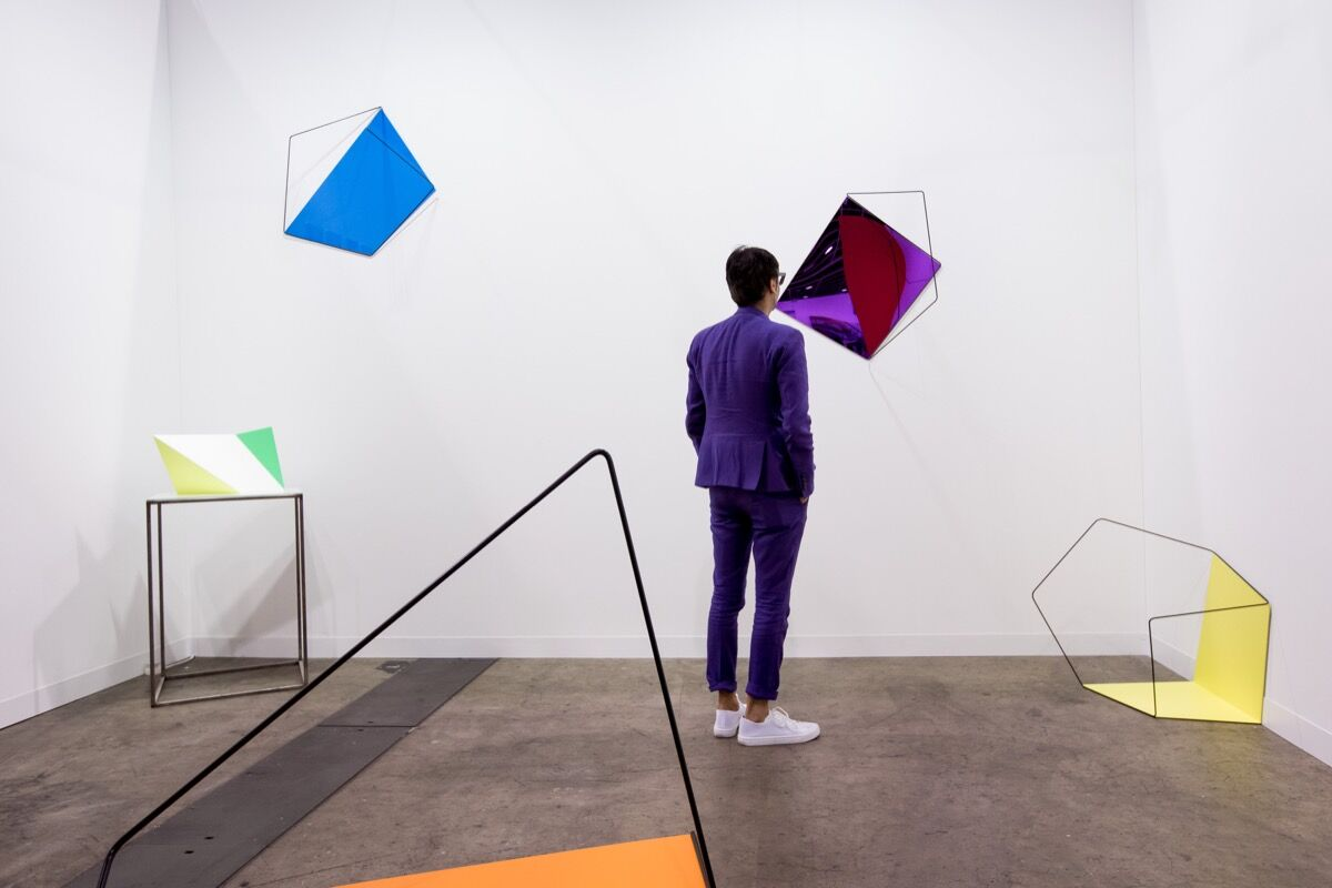 Installation view of Jhaveri Contemporary's booth at Art Basel in Hong Kong, 2017. Courtesy of Art Basel in Hong Kong.