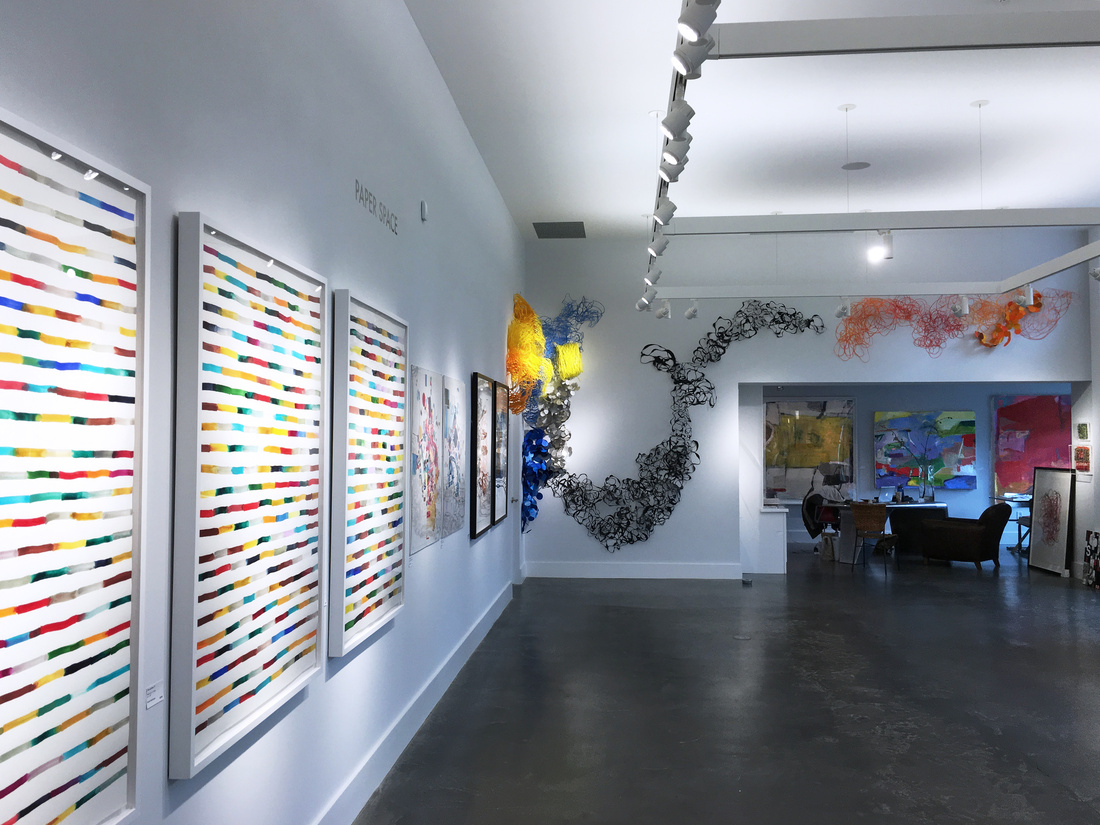 """Installation view of """"Paper Space,"""" at The Lionheart Gallery, Pound Ridge, New York. Courtesy of The Lionheart Gallery."""