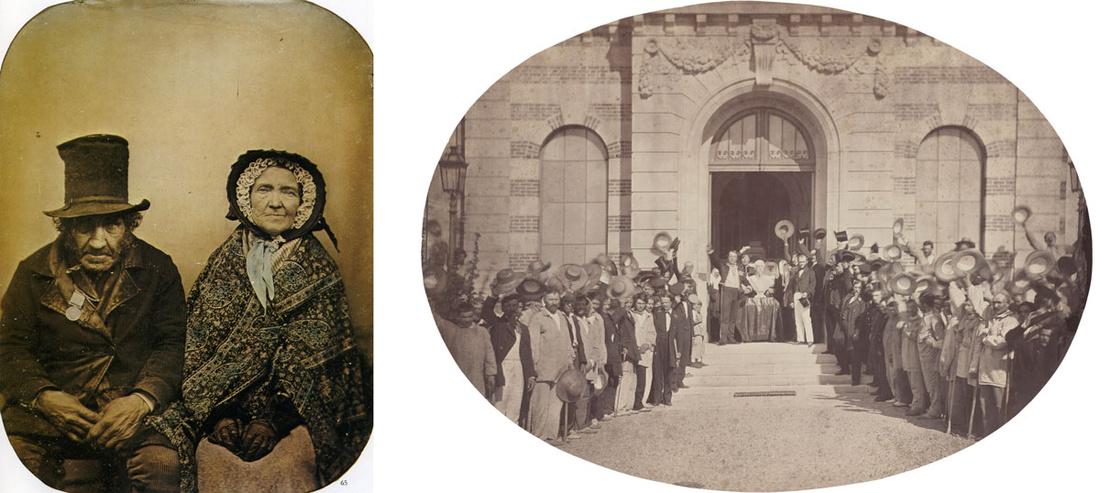 Left: Photograph from the 1860s, photographer unknown. Image via Wikimedia Commons; Right: Charles Nègree, Asile Impérial de Vincennes: le 15 Août, le Salut à l'Empereur, 1859. Image courtesy of the National Gallery of Art, Washington, D.C.