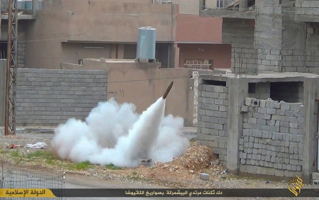 Rocket fired by ISIS targets Kurdish fighters, Mount Sinjar, Iraq, 2015. Photo courtesy ofICP Museum.