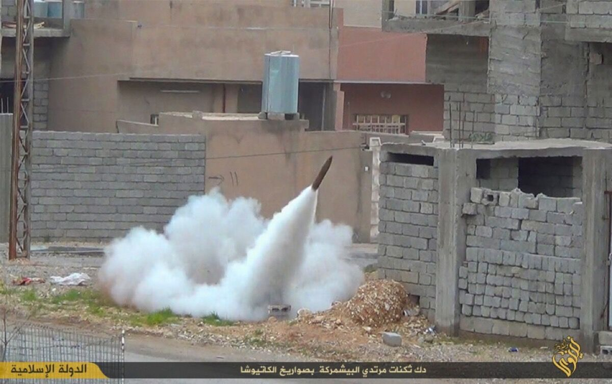 Rocket fired by ISIS targets Kurdish fighters, Mount Sinjar, Iraq, 2015. Photo courtesy of ICP Museum.