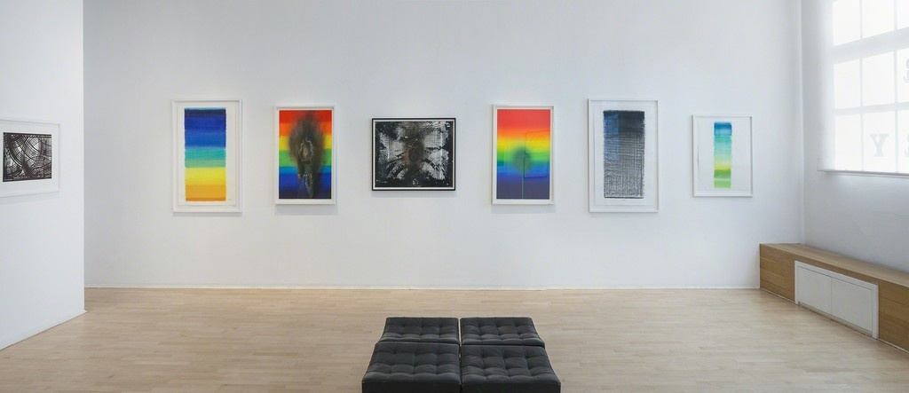"Installation view of ""Mack Piene Uecker: Works on Paper from 1962–2012,"" The Mayor Gallery, London. Courtesy The Mayor Gallery."