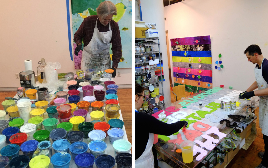 Left: Mel Bochner mixing paints. Right: Inking the monoprint plate. Images courtesy of Two Palms.