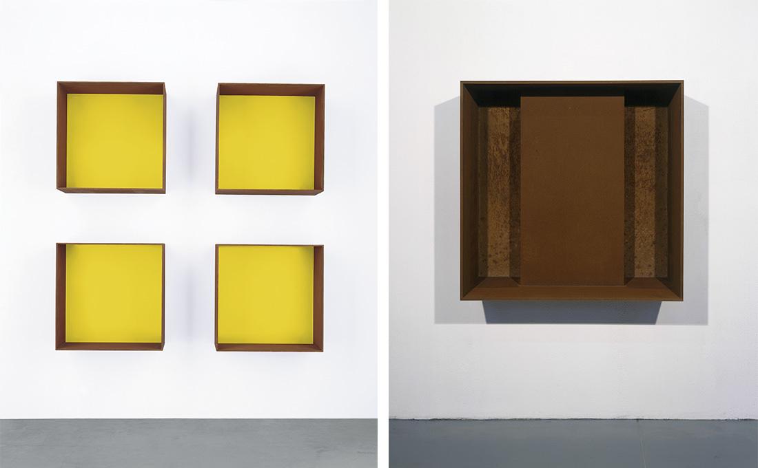 Left: Donald Judd, Untitled, 1991. Right: Donald Judd, Untitled, 1989.Art © Judd Foundation. Licensed by VAGA, New York, NY; Courtesy David Zwirner, New York/London.