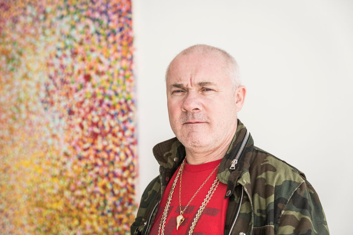 Portrait of Damien Hirst at Gagosian, Los Angeles by Emily Berl for Artsy.
