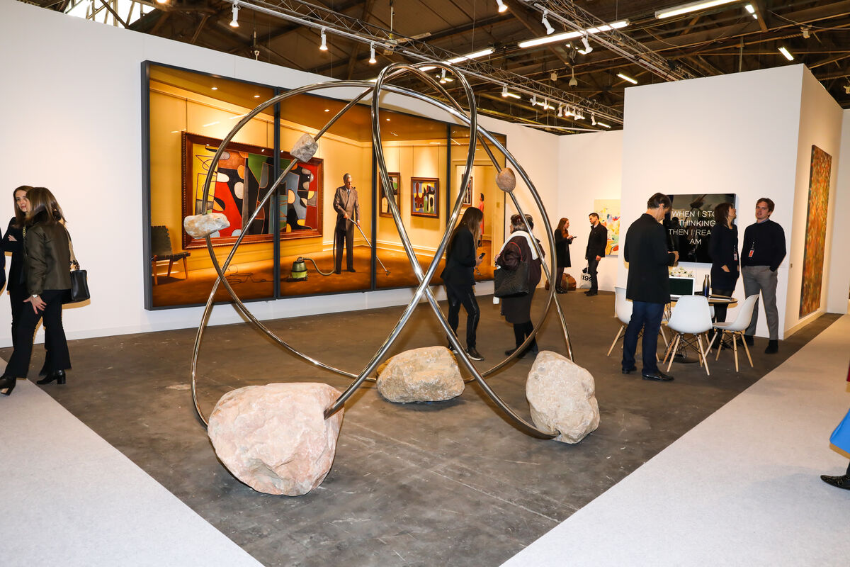 Installation view of 303's gallery featuring work by Rodney Graham and Alicja Kwade at The Armory Show, 2019. Photo by Samantha Deitch, BFA.com. Courtesy of The Armory Show.