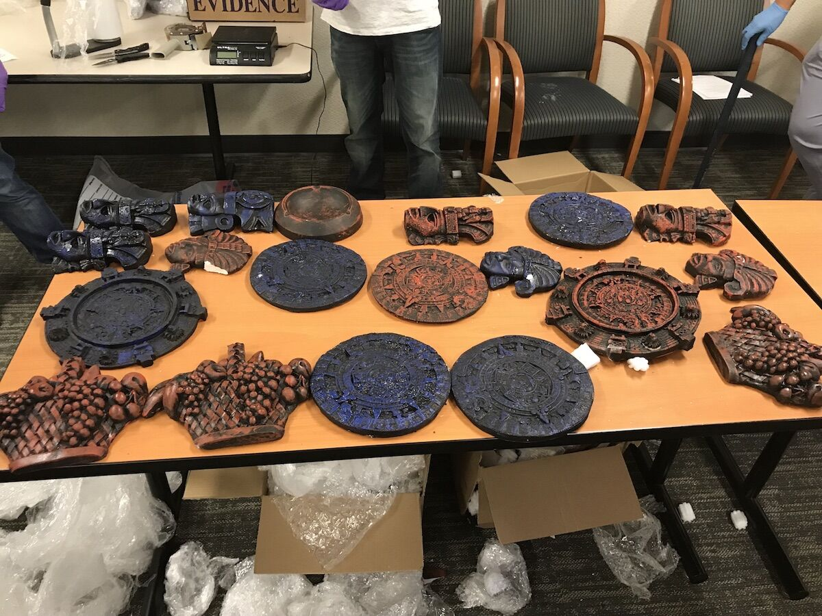 Methamphetamine disguised as Aztec artifacts. Courtesy the U.S. Attorney's Office.