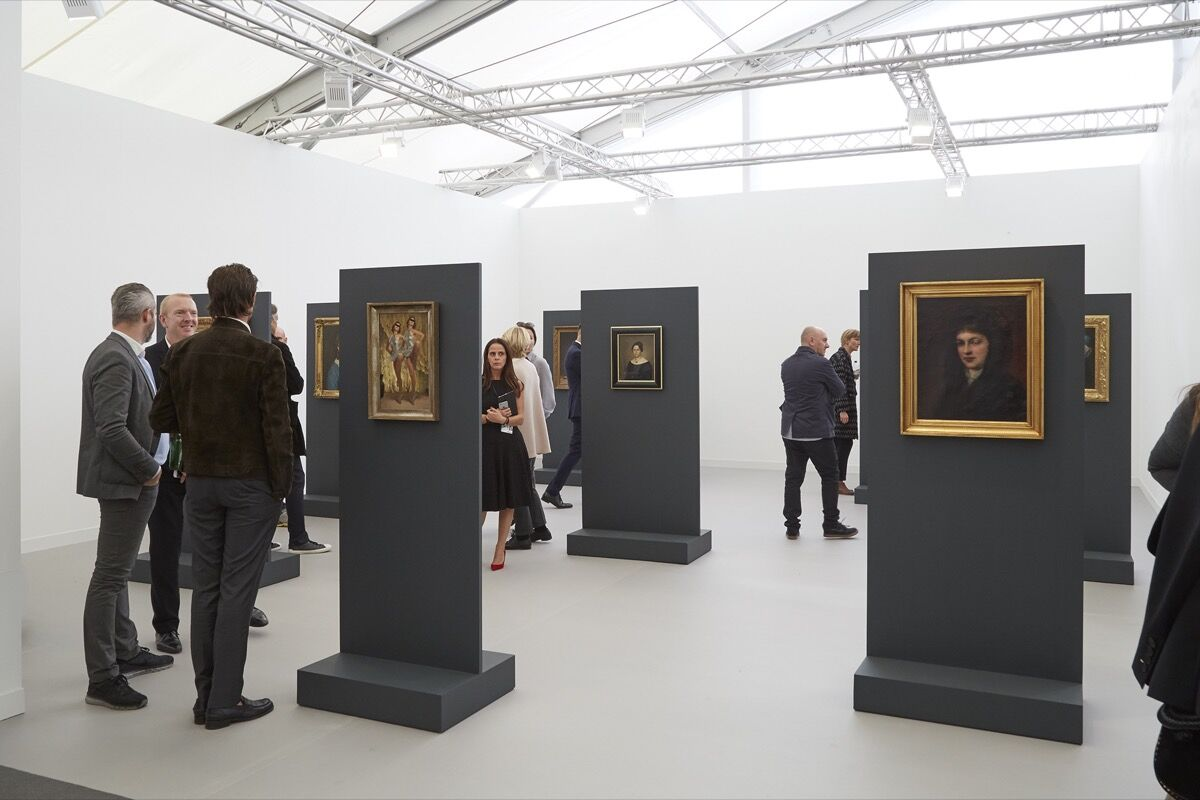 Installation view of Simon Lee Gallery's booth at Frieze London, 2016. Photo by Benjamin Westoby for Artsy.