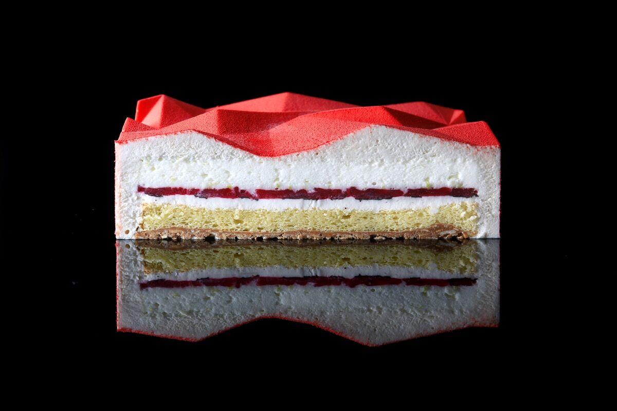 Dinara Kasko, Lime-Basil Triangulation, from Geometric Desserts 2015–17. Courtesy of Dinara Kasko.