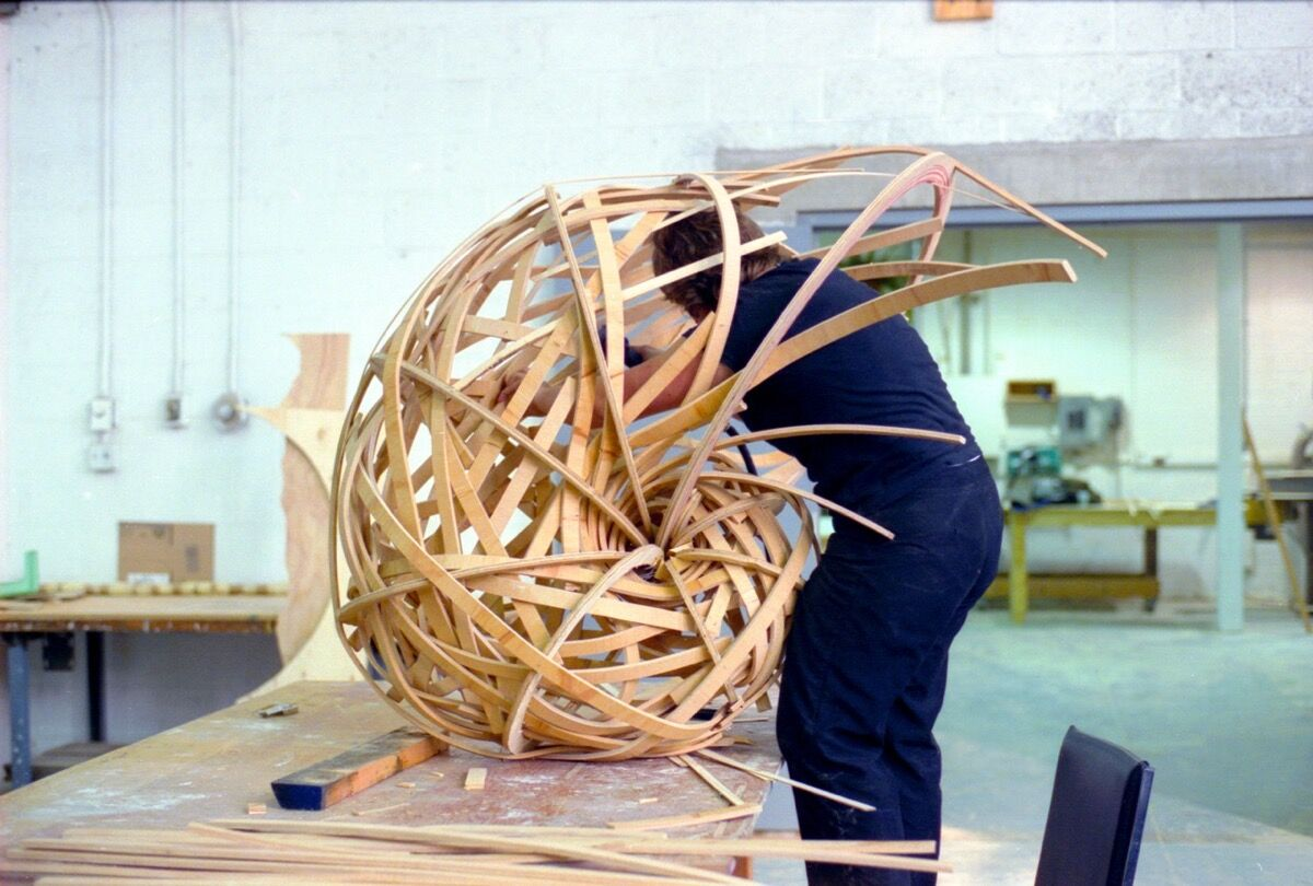 Student working in the Yale School of Art woodshop. Photo by Lisa Kereszi. Courtesy of Yale University.