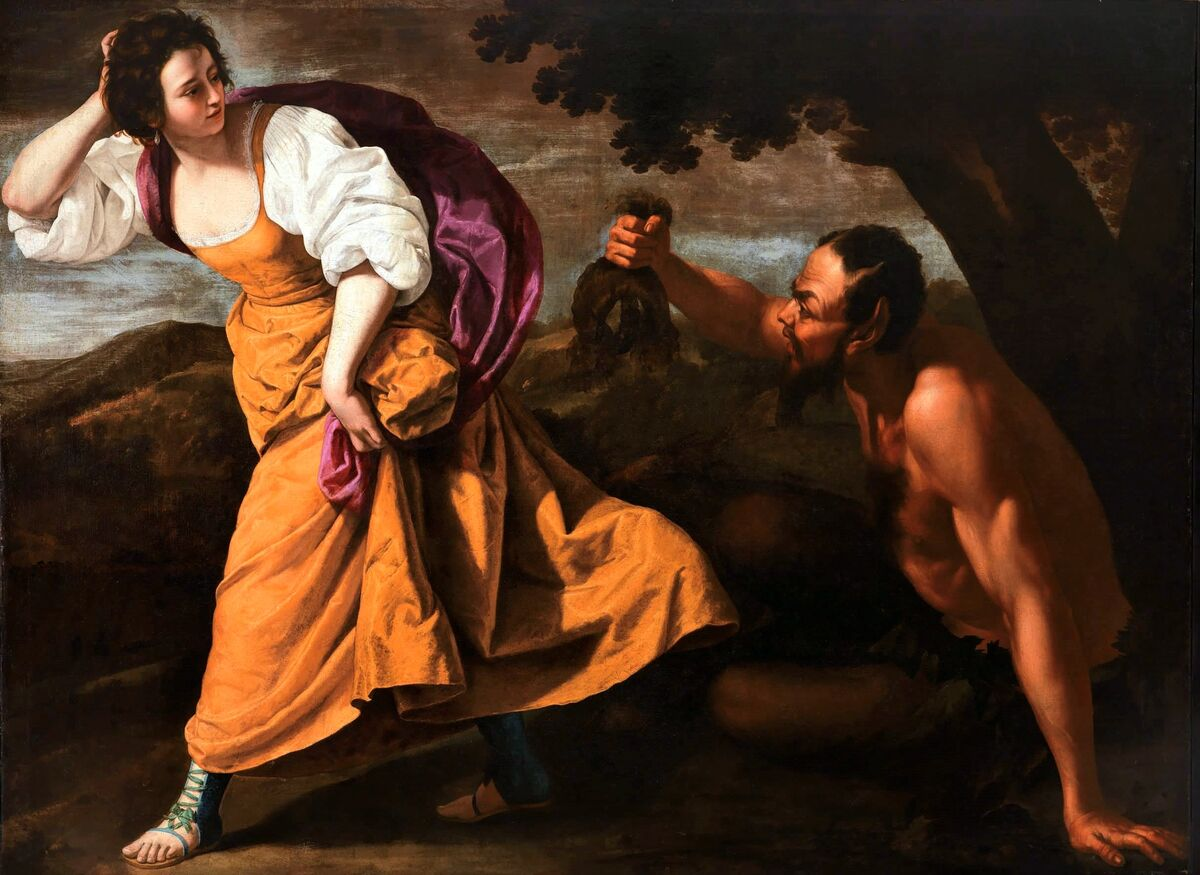 Artemisia Gentileschi with Massimo Stanzione, Corsica and the Satyr, between 1630-1635. Photo via Wikimedia Commons.