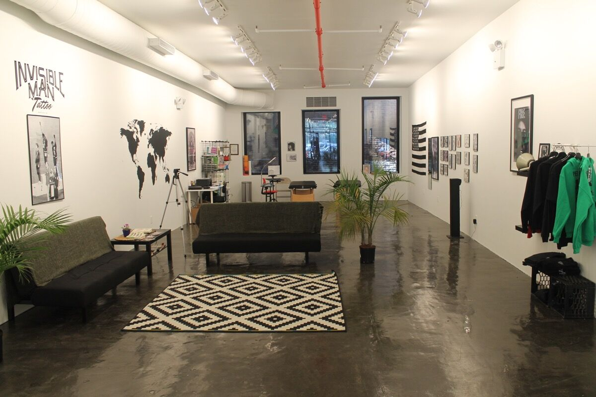"Installation view of Doreen Garner's ""Invisible Man Tattoo"" at Recess. Courtesy of Recess."