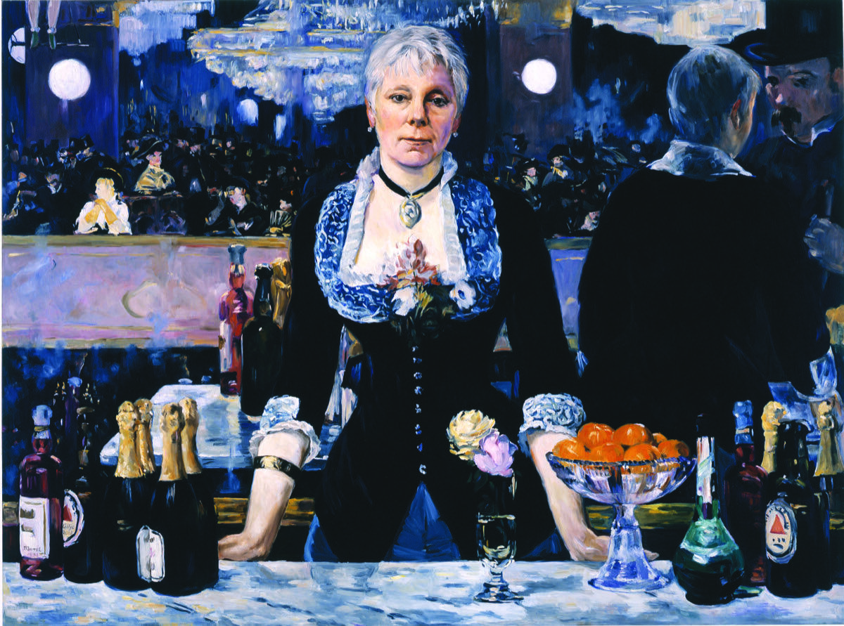Kathleen Gilje, Linda Nochlin in Manet's Bar at the Folies-Bergère, 2006, oil on linen, 37 x 51 inches. Image courtesy of Francis M. Naumann Fine Art, New York.