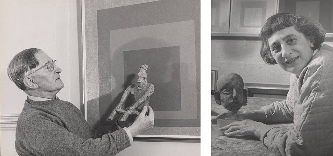 Left: Lee Boltin, Untitled (Josef Albers Holding West Mexican Figure in front of Homage to the Square: Auriferous), 1958. Right: Lee Boltin, Untitled (Anni Albers with Pre-Columbian Head), 1958. © Lee Boltin. Photos courtesy the Josef and Anni Albers Foundation.