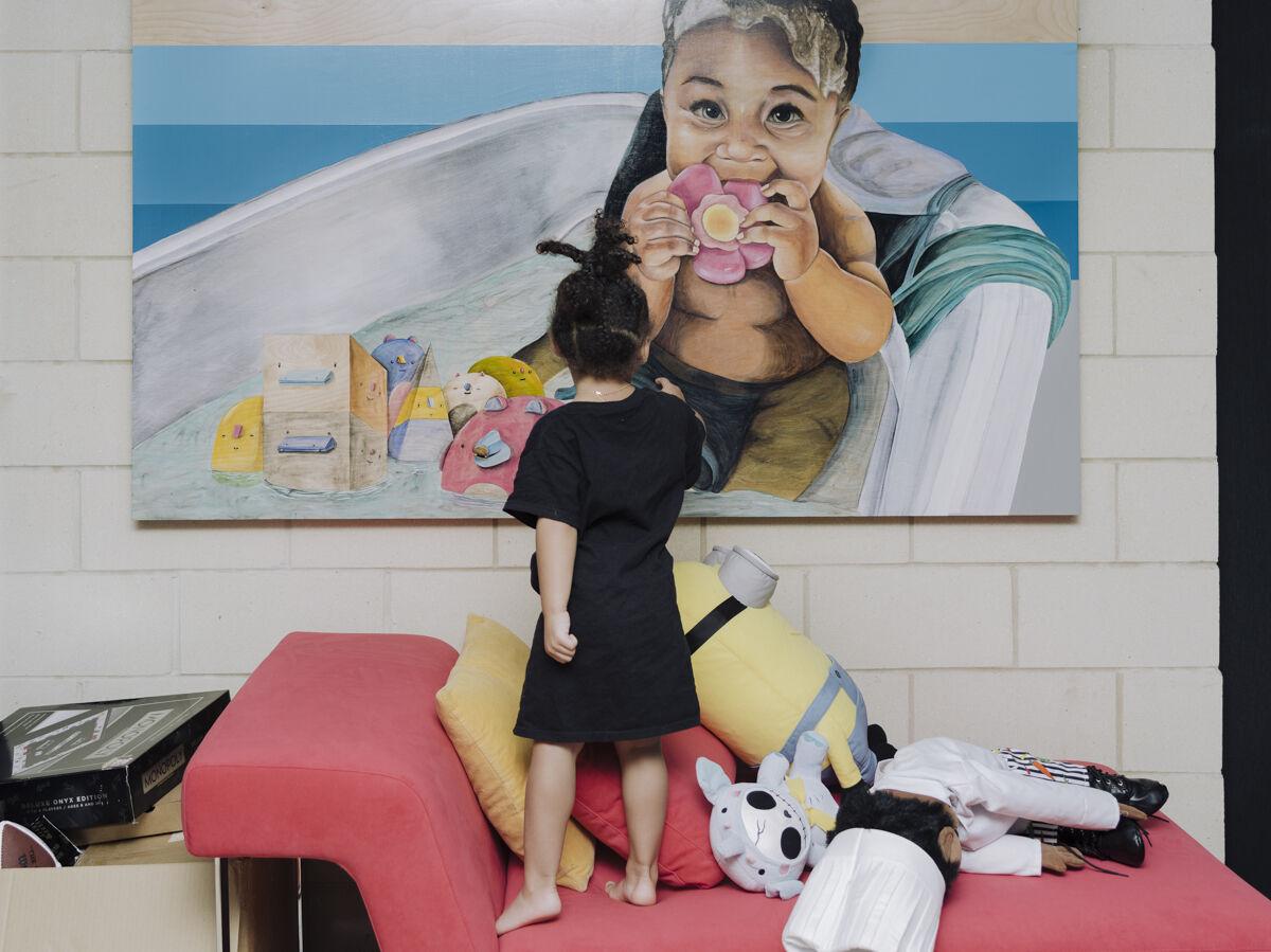 Portrait of Martellus Bennett's daughter Jett in their Chicago home by Whitten Sabbatini for Artsy.