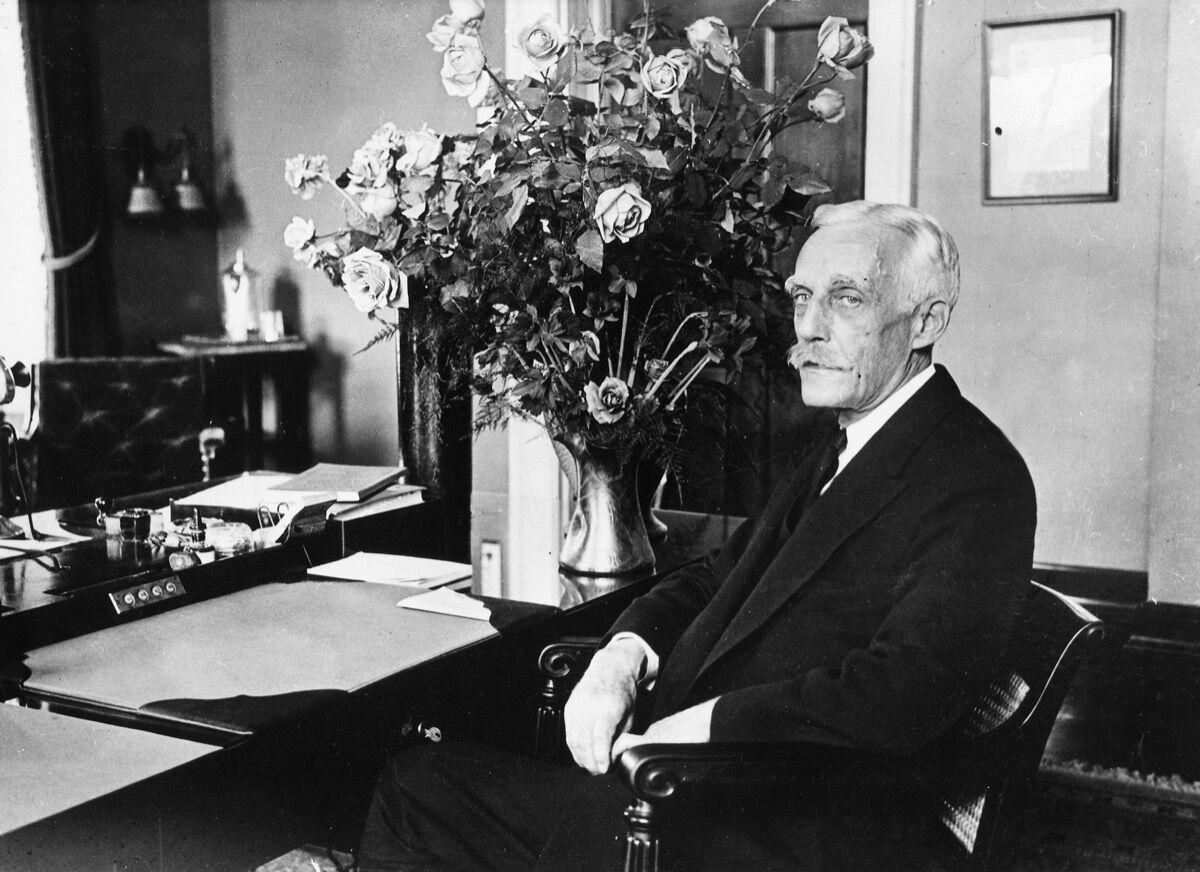 Portrait of Andrew Mellon in his office, ca. 1928. Photo by ullstein bild/ullstein bild via Getty Images.