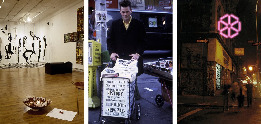 """Left: installation view of""""Remember Yugoslavia,"""" 1993 at Art in General, New York. Center: installation view of Matthew Bakkom, """"Art in General on Canal Part I,"""" 2001 at Art in General, New York. Right: installation view of Leo Villareal,""""Art in General on Canal Part II,"""" 2003 at Art in General, New York. All images courtesy of the artists and Art in General."""