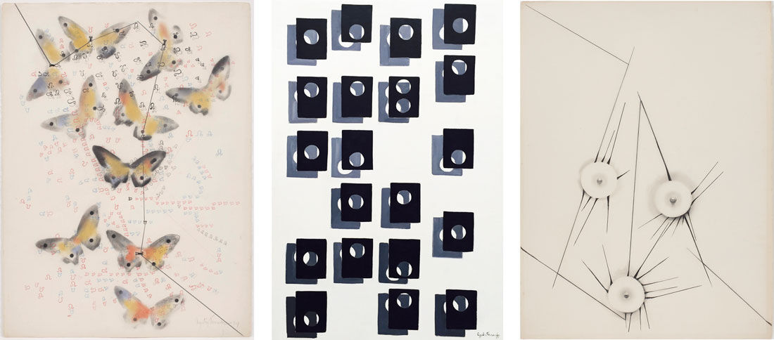 Works by Agustin Fernandez, left to right: Untitled (Butterflies); Untitled, 1972; Untitled, 1967. Images courtesy of Mitchell Algus Gallery.