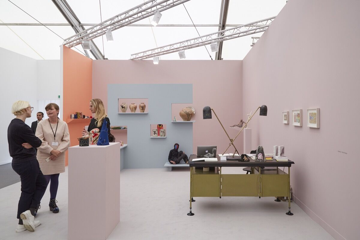 Installation view of Kate MacGarry's booth at Frieze London, 2016. Photo by Benjamin Westoby for Artsy.