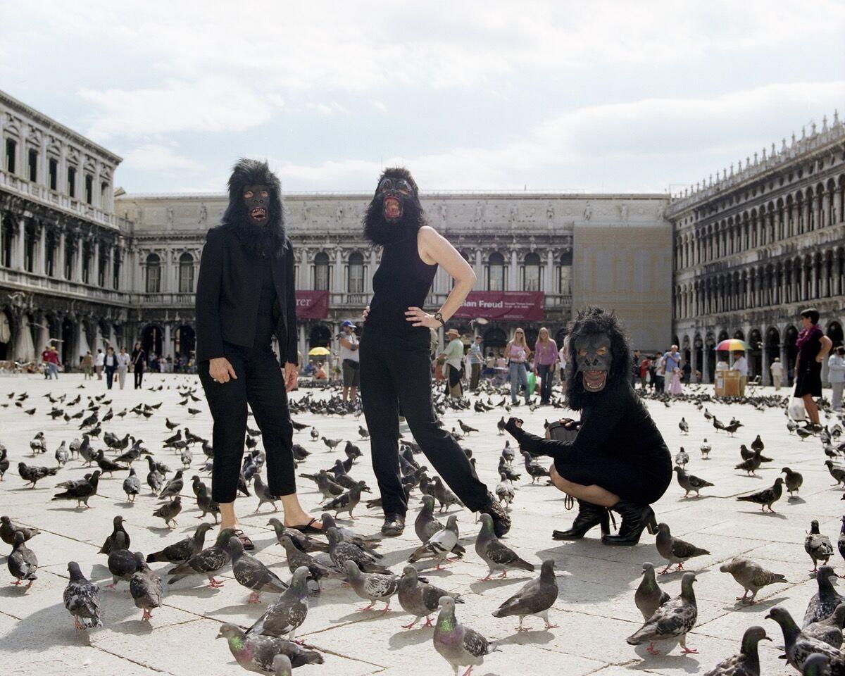Guerrilla Girls, June 9, 2005, The Venice Biennale, Venice, Italy. Portrait by Jason Schmidt.