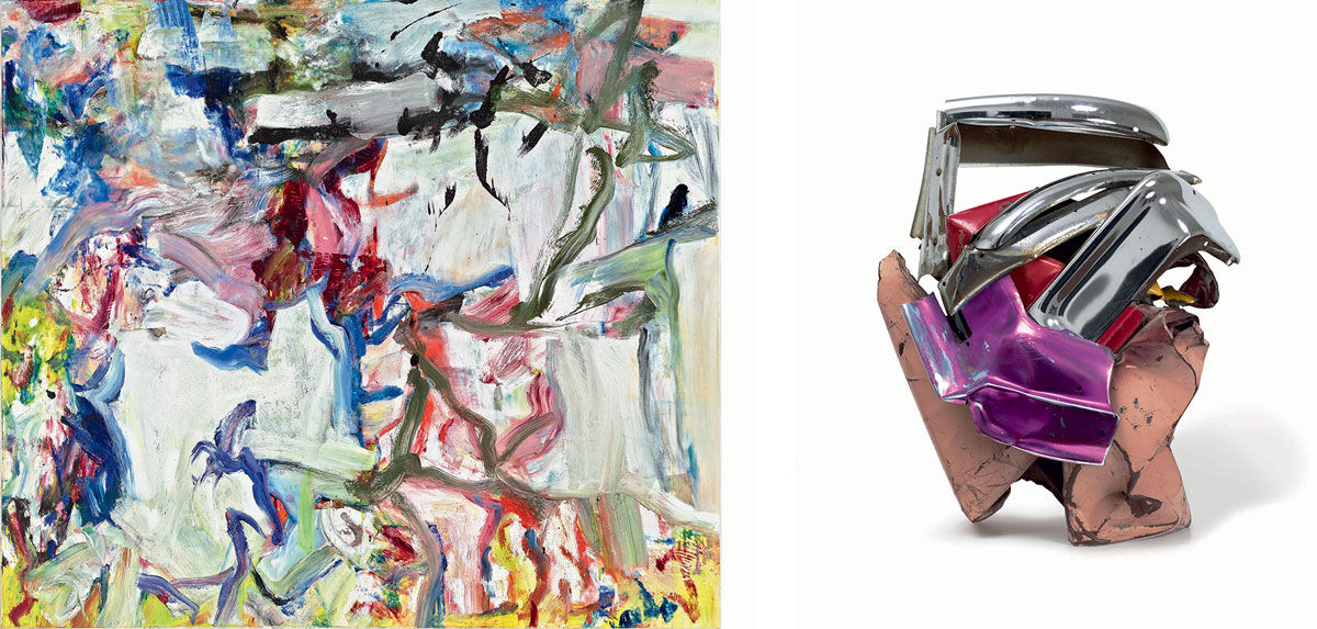 Left: Willem de Kooning, Untitled XXII, 1977. Image courtesy Mnuchin Gallery, © The Willem de Kooning Foundation, Artists Rights Society (ARS). Right: John Chamberlain, Silver Heels, 1963. Photo by Tom Powel Imaging. © Fairweather & Fairweather LTD, Artists Rights Society (ARS).