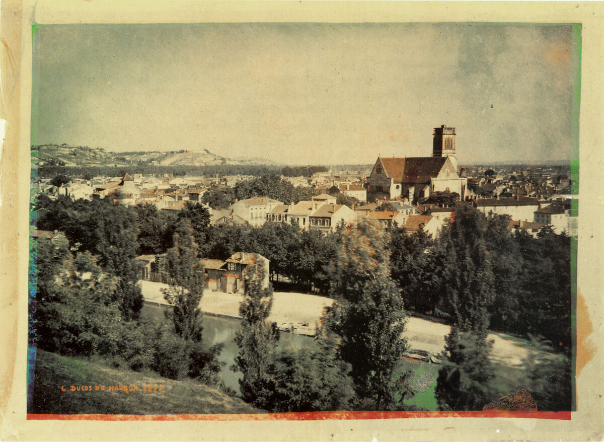 Early color photo of Agen, France, by Louis Ducos du Hauron, 1877. Image via Wikimedia Commons.